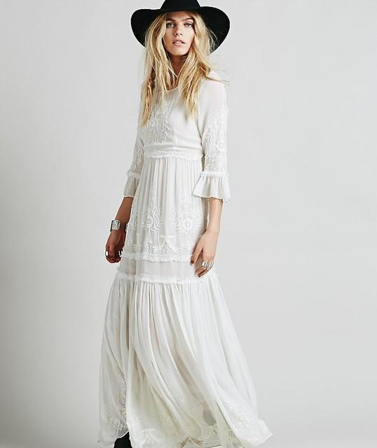 2017 nova frete grátis bohemia bordado maxi dress das mulheres branco elegante ruffles sweet longo solto dress vestidos de festa da moda