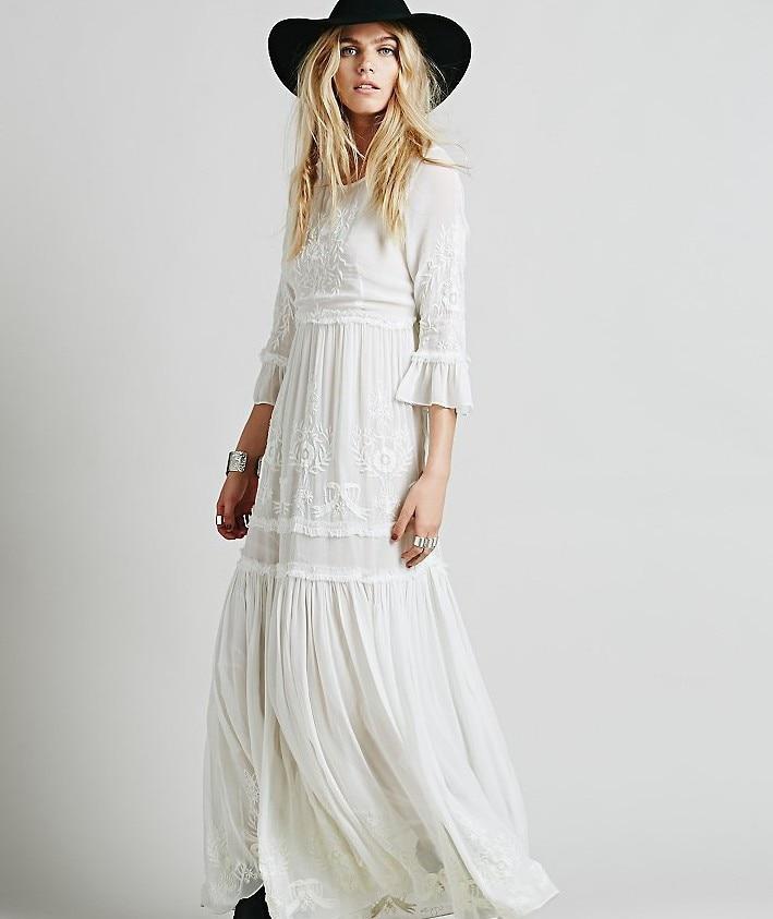 2018 new free shipping Bohemia embroidery maxi dress women's white ruffles elegant sweet long loose dress fashion party dresses