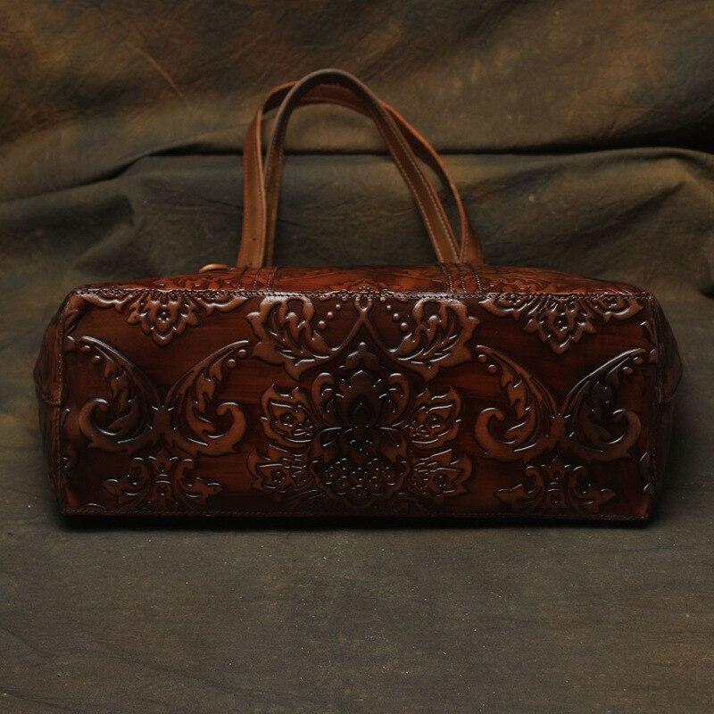 Nesitu haute qualité motif fleur Vintage café épais en cuir véritable femmes sacs à main dame sacs à bandoulière femme fourre-tout # M113 - 3
