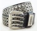 2016 Men black Punk first layer leather  Belt hollow out fashion Metal Rivet Belt Three pin buckle Pure belt brand new