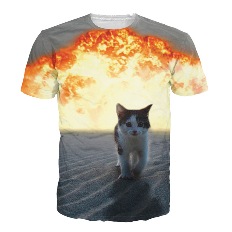 Solar Kitten T Shirt Cat Vomiting A Waterfall Onto Earth Vibrant 3d Cat Tee Shirt