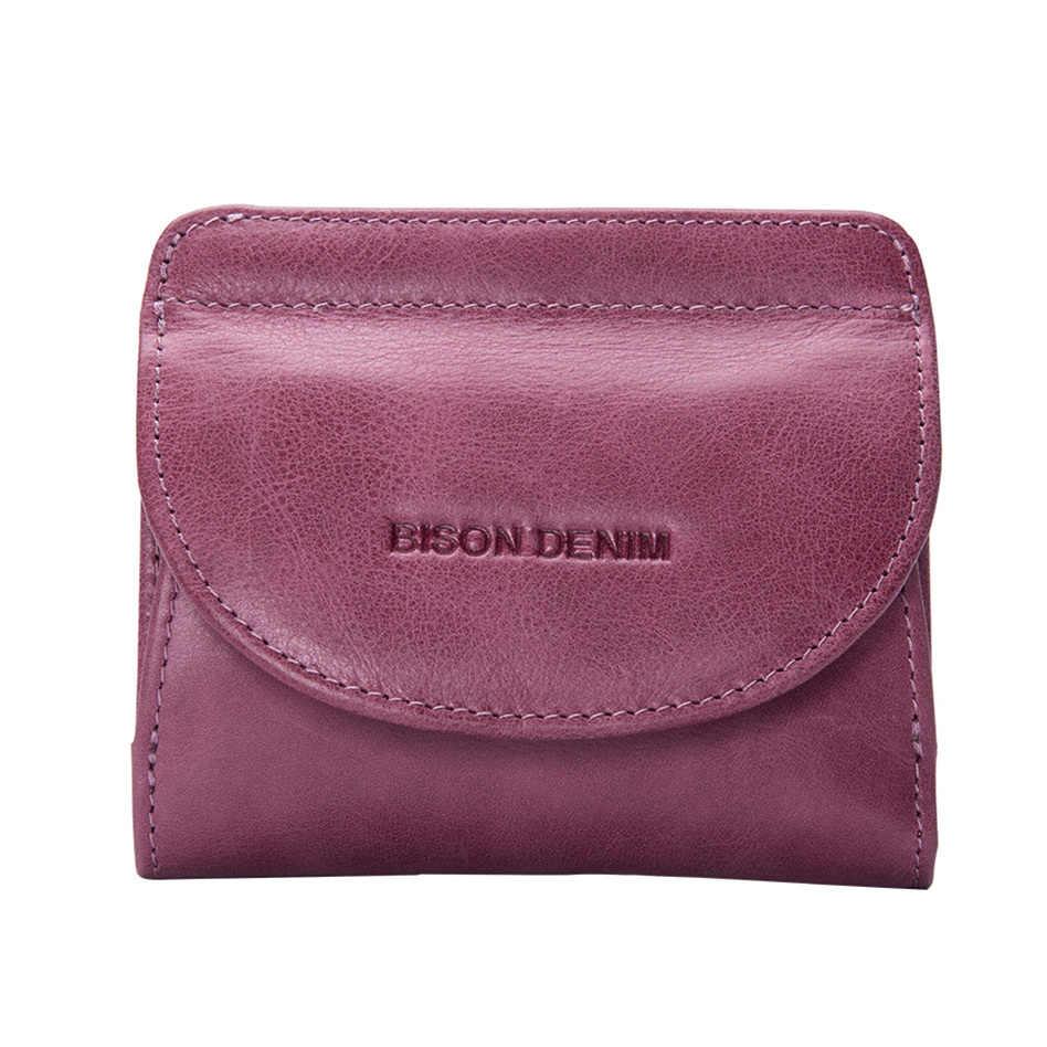 Женский кошелек с монетницей BISON DENIM, фиолетовый дамский кошелек из натуральной воловьей кожи с отделениями для карт, 2019