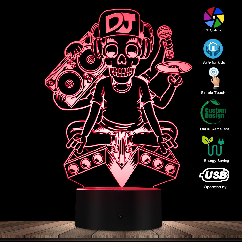 Tattoo DJ Music Skeleton Microphone Silhouette Night Lamps DJ Skull 3D Visual Table Lamp Lights Rock Music Decorative Lighting
