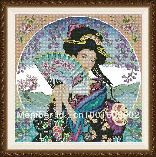 팬으로 크로스 스티치 키트 게이샤 계산 사쿠라 꽃 중국어 일본 레이디 여자 여자