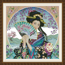 Kit de point de croix compté, Geisha, fleurs Sakura, pour femmes et filles japonaises, avec ventilateur Sakura