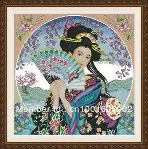Image 1 - counted cross stitch kit Geisha with Fan Sakura Flower Chinese Japanese Lady Woman Girl