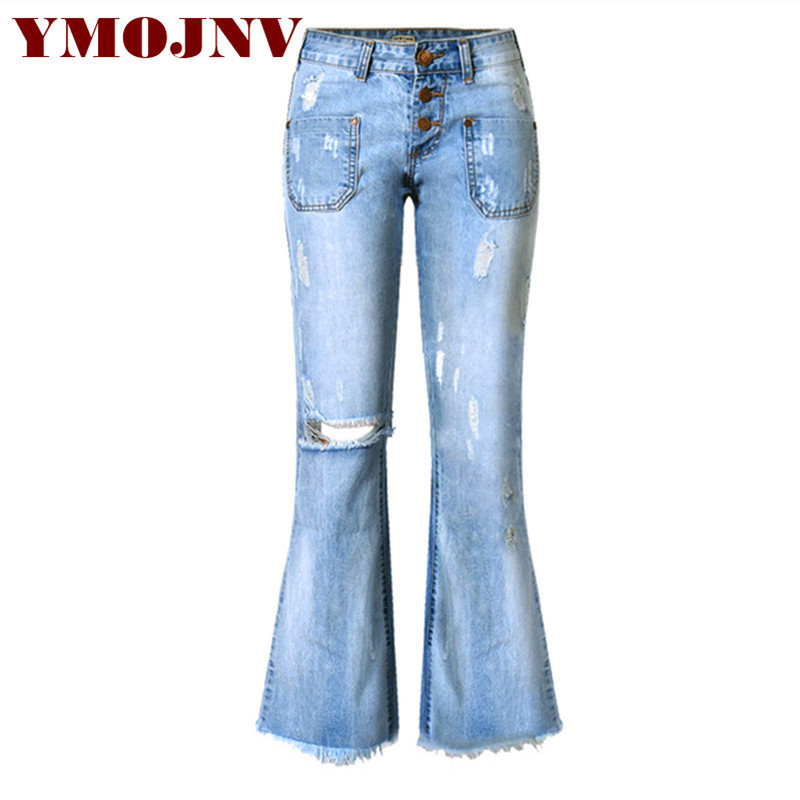 YMOJNV Denim Wide Leg Pants Women 2017 New High Waist Flare Pants Whisker Fringe Female Ripped Jeans With Holes Women's Trousers alfani new white women s 10 flare leg faux leather trim dress pants $69 259
