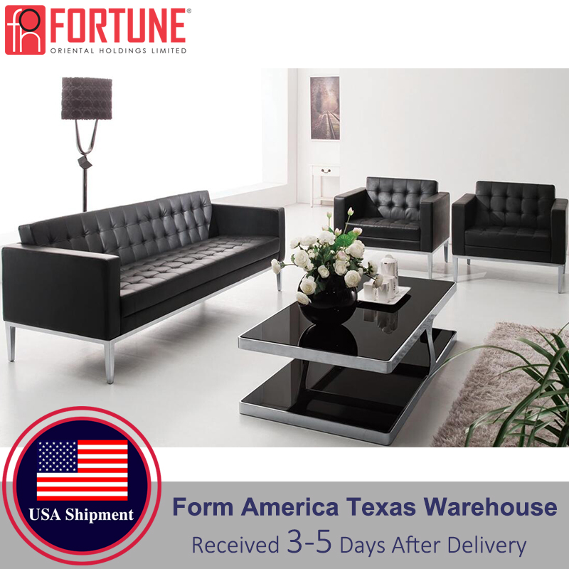 Executive Waiting Sofa Fashion Black Sofa 3 Pieces Faux Leather Commercial Furniture Comfortable Sofa Modern Design