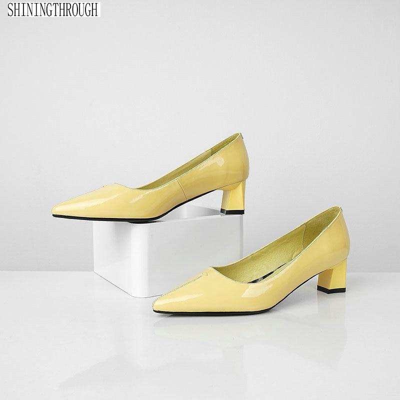정품 가죽 드레스 신발 여성 하이힐 지적 발가락 사무실 숙녀 작업 신발 자연 진짜 가죽 펌프 블랙-에서여성용 펌프부터 신발 의  그룹 1