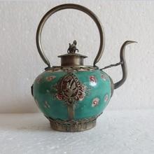 Металлические Ремесла коллекционные Украшенные старый ручной работы зеленый фарфор чайник крышка с обезьяной чайник