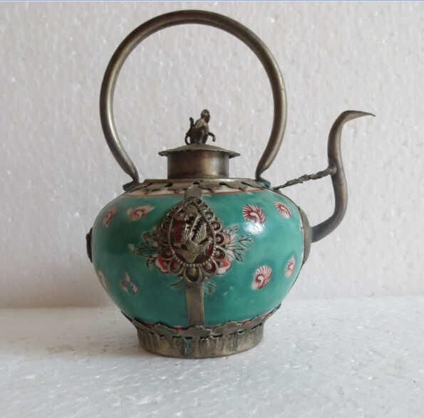 Logam Kerajinan Koleksi Decorated Old Pekerjaan Tangan hijau porselen teko Teh Pot monyet tutup