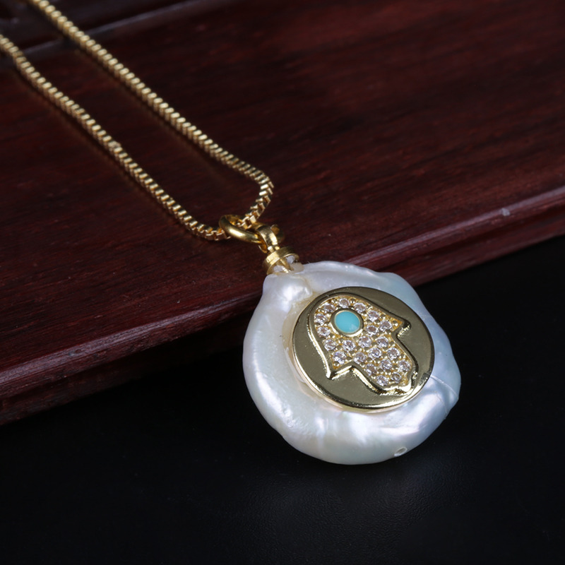 white cz hamsa fatima hand blue eye luck protection charm freshwater pearl bead dainty gold pendant choker necklace for women