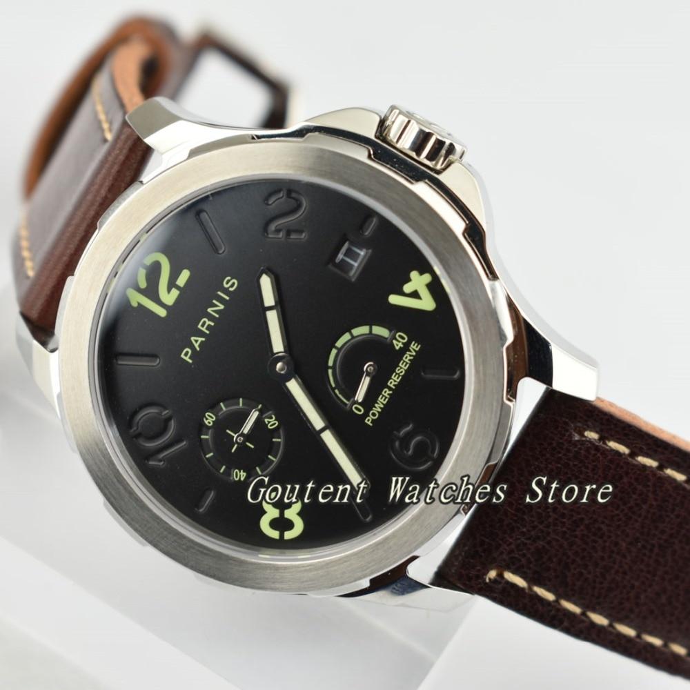 44mm Parnis Luminous Sapphire Glass Black Dial Seagull 2530 Automatic Men s Watch