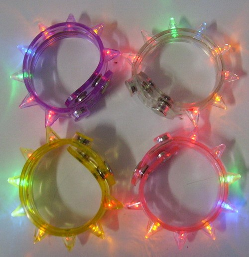 Blinking spiked led flashing bracelet with colorful lights