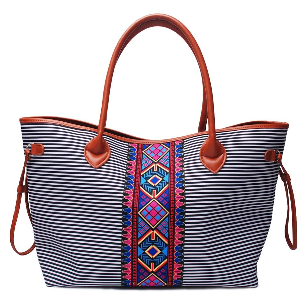 Wholesale Stripe/Aztec Tote Bag Stripe Handbag Stripe And Aztec Large String Bag DOM1031167 tote bag