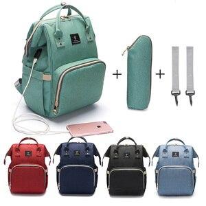 Image 1 - USB 인터페이스와 패션 출산 기저귀 가방 대용량 방수 기저귀 가방 키트 배낭 출산 간호 아기 가방