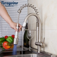 Kitchen Faucet Classic Kitchen Faucet Pull Out Spray Tap And Swivel Brushed Nickel Finished LED With