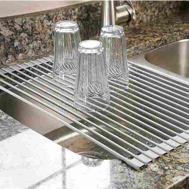 Over the sink dish drying rack large multipurpose and  roll-up