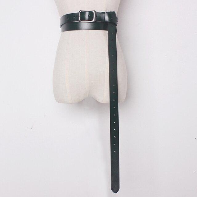 2020 Vintage Cuoio Genuino Della Mucca con fibbia in metallo Cinture lunghi per Le Donne Arco legato Accessori Dei Vestiti di larghezza 2.6 centimetri