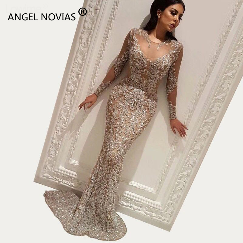 ANGEL NOVIAS Long Sleeve Abendkleider Glitter Champagne Mermaid Arabic   Evening     Dress   2018 Formal Elegant Prom Gown avondjurk
