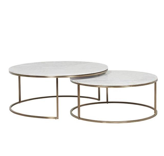 Round Marble Nest Coffee Tables 2pcs Pack Of 80cm 70cm Diameter