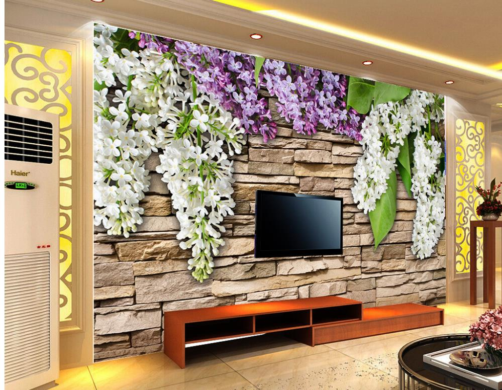 Home decoration 3d landscape wallpaper stone wall flower for 3d wallpaper of house