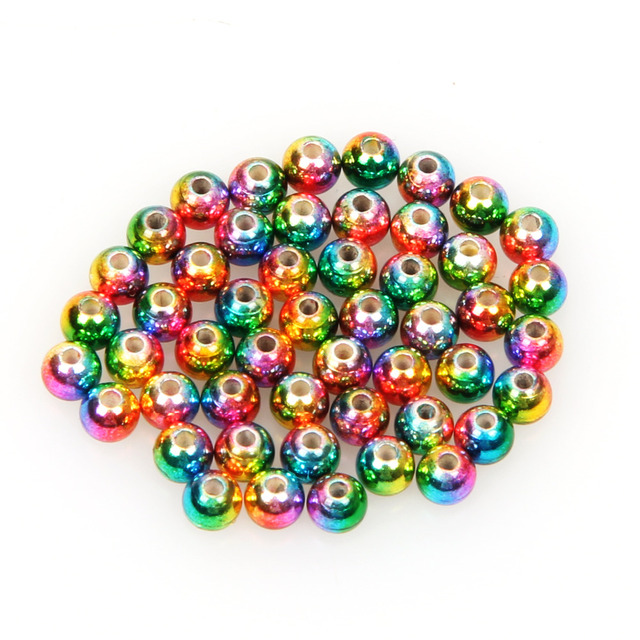 50pcs/lot Tungsten Fly Tying Beads Red Green Rainbow Fly Fishing Nymph Head Ball Beads