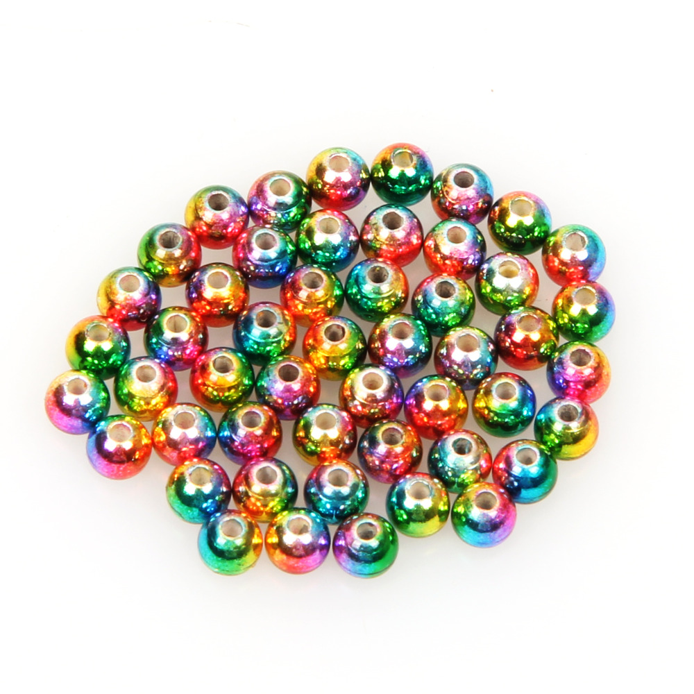 Angelsport-Fliegen-Bindematerialien 1000 Rainbow Tungsten Fly Tying Beads Assorted Sizes A