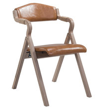 Modern high grade solid wood retro folding dining chair fabric home backrest restaurant study lounge chair(China)