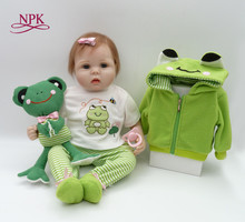 "NPK bebes reborn boy girl dolls 22"" soft silicone reborn baby dolls toys Cartoon frog travel doll kids gift bonecas truly real(China)"