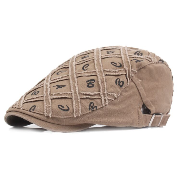 XIANJIE018 Winter Men's Cotton Letter Print Berets Caps British Fashion Women's Flat Adjustable Berets Hat Casquette Gorras