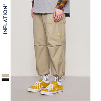 INFLATION Opening Swag Pants Mens Wide Leg Ankle Length Pants 2018 Men's Casual Trousers Ninth Harem Pants 8862W