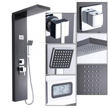 Temperature-Display Shower-Panel Stainless-Steel Column-Mixer Spray Waterfall Bathroom