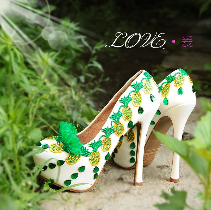 ФОТО 2017 New wedding shoes 14cm High shoes woman Bridal Fashion Pumps Green Lace Pig leather Lining Fashion shoes Women single shoes