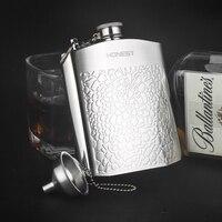 Honest Set 7oz Mini Luxury Hip Flask Stainless Steel Flask Whiskey Liquor Portable Key Chain Bottle
