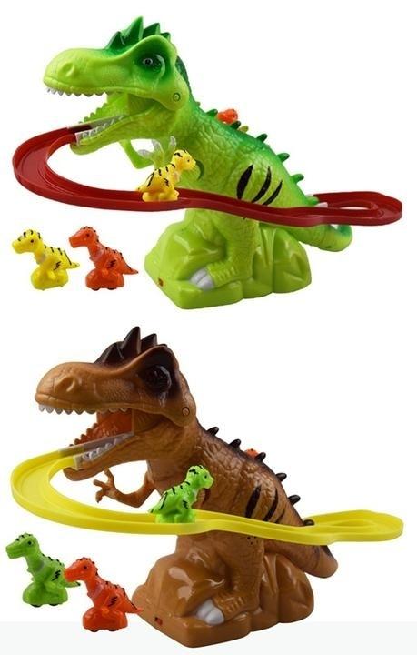 Купить с кэшбэком Children Electric Tracks Climb Stair Dinosaur Toys Glowing With Sound Kid Toy Animals Model  Interactive Toys
