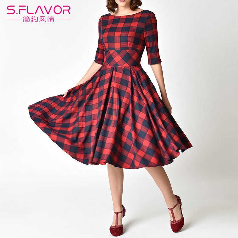 S. FLAVOR тонкое красное клетчатое Сексуальное Женское Платье с открытой спиной и круглым вырезом элегантное вечернее платье женское повседневное весеннее платье с рукавом три четверти