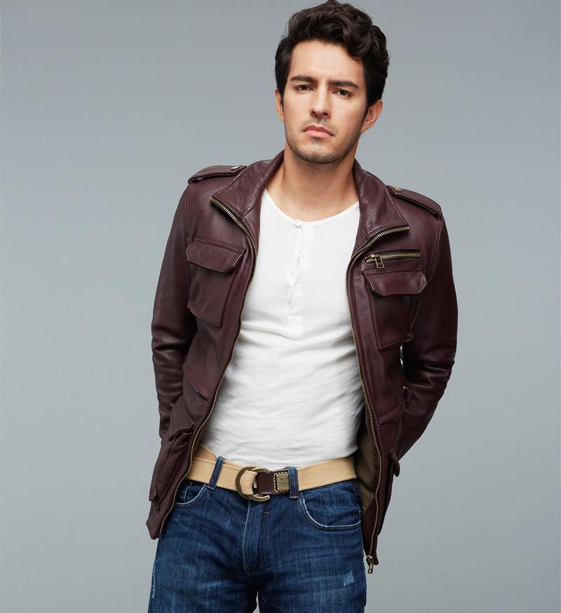 Factory M65 Genuine Leather Jacket Men Real Cow Skin Brand Wine ...