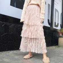 Pink Women Cake Mesh Long Ankle Length Dot Tutu Jupe Tulle Femme Skirt Pleated 2019 Summer Cupcake Multi Layer White a Line