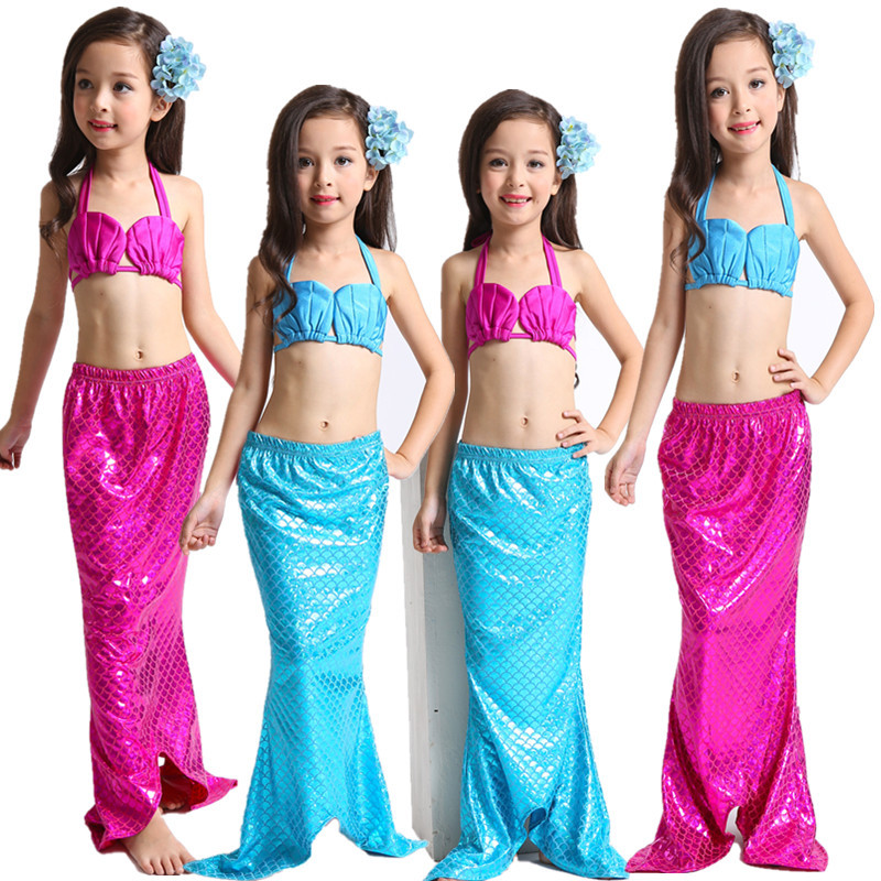 Mother & Kids Trend Mark 3pcs/set The Little Mermaid Tail Costume Princess Ariel Children Mermaid Tails For Swimming Cosplay Kids For Girl Fancy Swimsuit