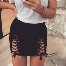 Sexy Women Suede New Mini Skirt Autumn Winter Vintage High Waist Lace-Up Bodycon Pencil Solid Suede Skirts Oversized Femme GV926 yellow suede studded mini skirt