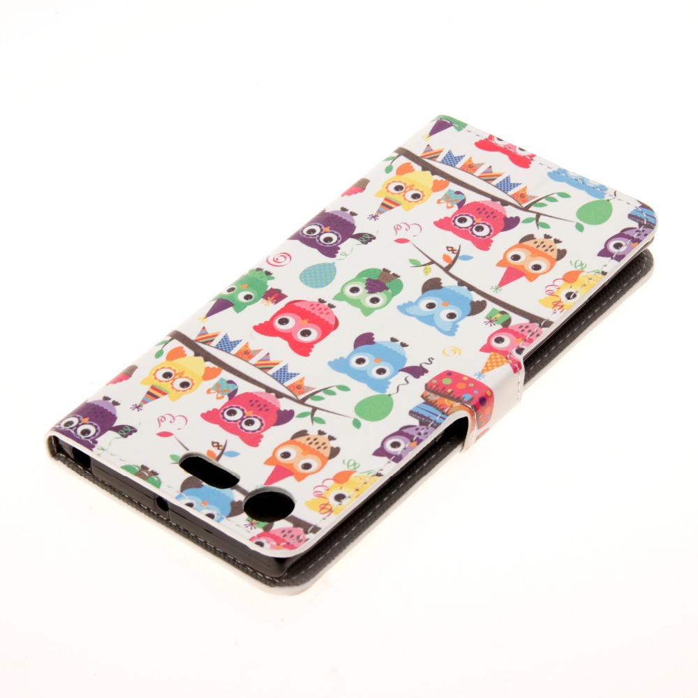 Flip Case for Sony E5,M4,M5,Z3,Z4,Z5 PU Leather Butterfly Sleepy Owl Retro Pattern Class ...