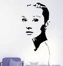 Young AUDREY HEPBURN Silhouette Wall Vinyl Stickers Art Decal Reusable Removable Decal 2014 fashion custom made Free Shipping