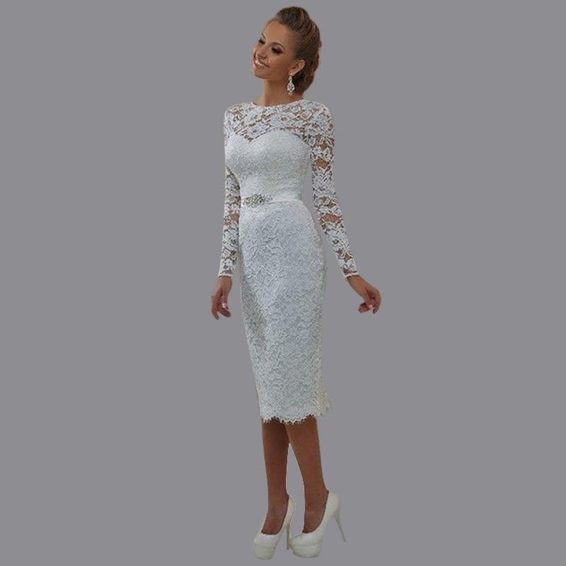 New Elegant Lace Long Sleeve Short Wedding Dress O Neck