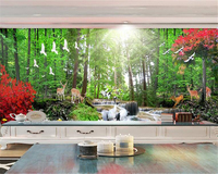Custom 3D Wall Mural Wallpaper Nature Landscape HD Red Trees Trees Deer Fantasy Forest Background Wall