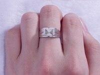 Площадь Platinum PT950 белый Настоящее золото Diamond жаждут свадебные кольца полосы для Для мужчин мужской тонкая Ювелирный Подарок на юбилей