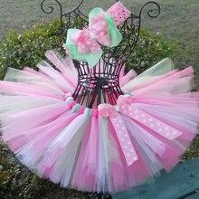 Милые юбки-пачки для младенцев, г., пышные балетные пачки ручной работы, тюлевые юбки-пачки в горошек с бантом и бантом для волос, детская одежда