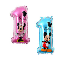 50pcs/lot mickey minnie mouse number 1 foil balloons helium globos for baby shower 1st birthday party decor supplies kids toys портативная рация baofeng uv 5r