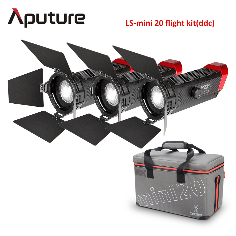 Aputure LS Mini 20 3-Light Kit Two mini 20d and One mini 20c LED Fresnel Light TLCI CRI 96+ 40000lux@0.5m with Battery and Case aputure ls c300d cri 95 tlci 96 48000 lux 0 5m color temperature 5500k for filmmakers 2 4g remote aputure light dome mini page 6