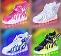 2017 shoes carregamento usb emissor de meninos e meninas das crianças das crianças shoes led iluminado asas luminosas shoes sneakers